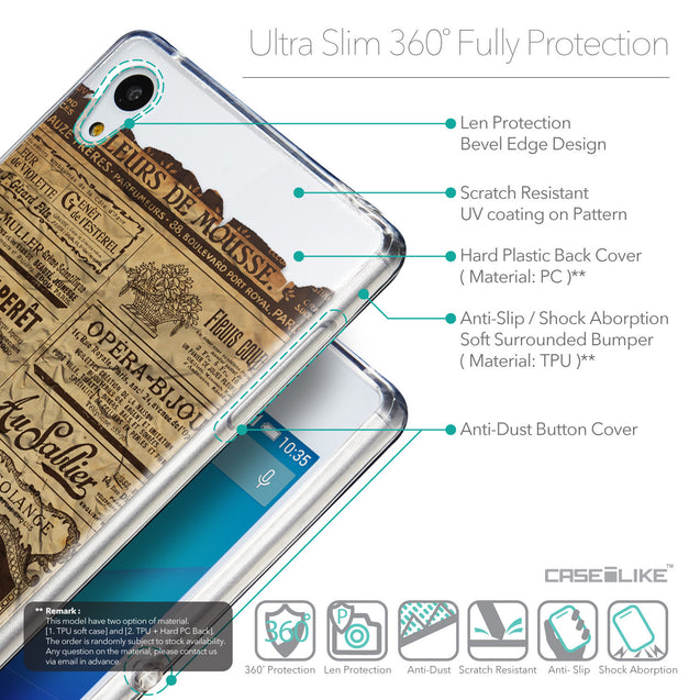Details in English - CASEiLIKE Sony Xperia Z3 Plus back cover Vintage Newspaper Advertising 4819