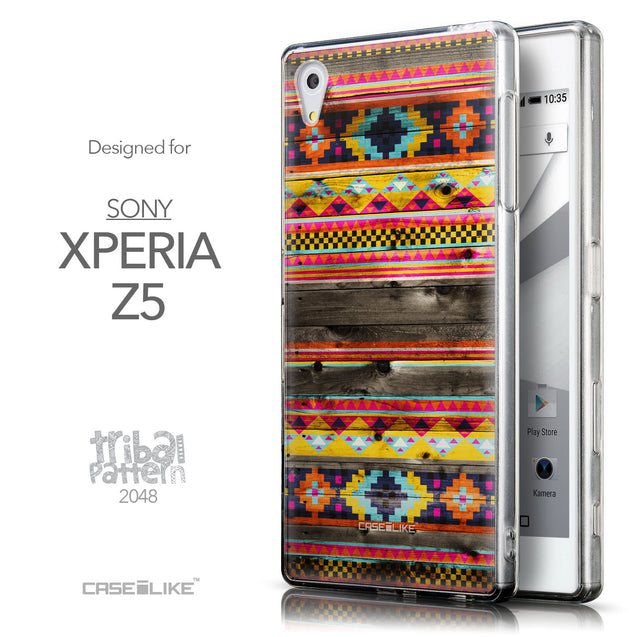 Front & Side View - CASEiLIKE Sony Xperia Z5 back cover Indian Tribal Theme Pattern 2048