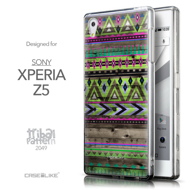 Front & Side View - CASEiLIKE Sony Xperia Z5 back cover Indian Tribal Theme Pattern 2049
