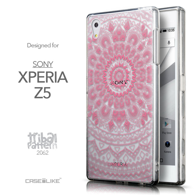 Front & Side View - CASEiLIKE Sony Xperia Z5 back cover Indian Line Art 2062