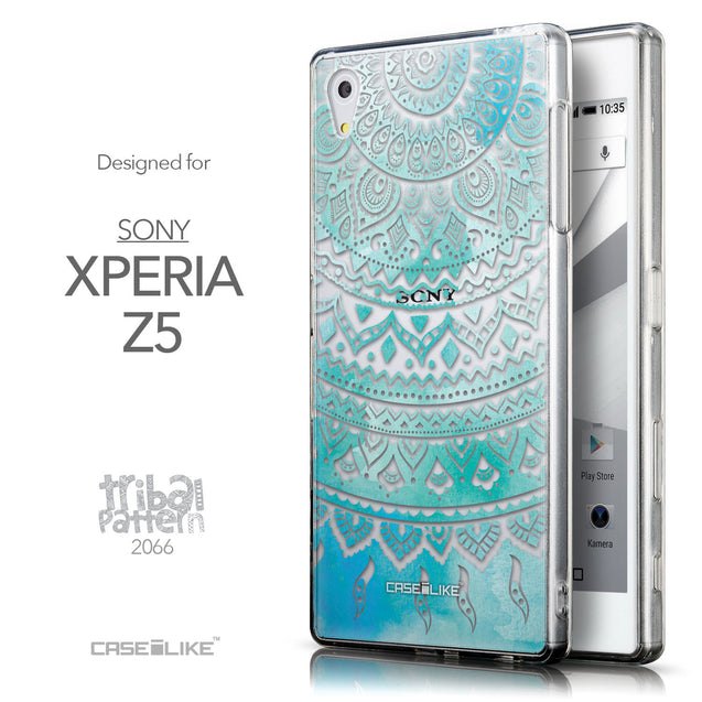 Front & Side View - CASEiLIKE Sony Xperia Z5 back cover Indian Line Art 2066