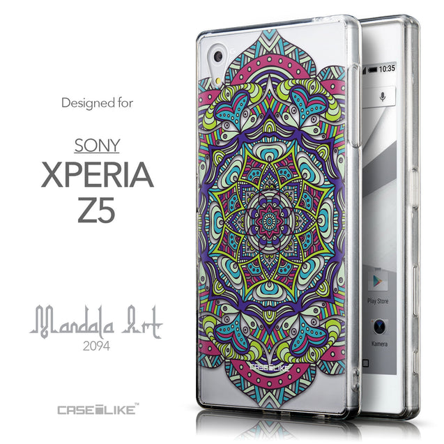 Front & Side View - CASEiLIKE Sony Xperia Z5 back cover Mandala Art 2094