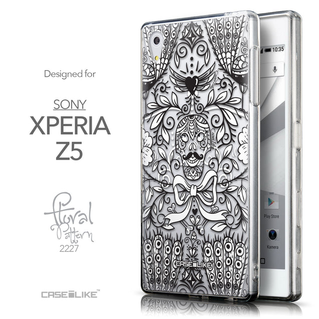 Front & Side View - CASEiLIKE Sony Xperia Z5 back cover Roses Ornamental Skulls Peacocks 2227