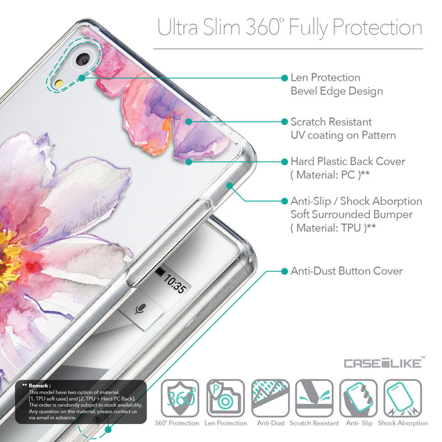 Details in English - CASEiLIKE Sony Xperia Z5 back cover Watercolor Floral 2231