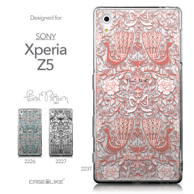 Collection - CASEiLIKE Sony Xperia Z5 back cover Roses Ornamental Skulls Peacocks 2237