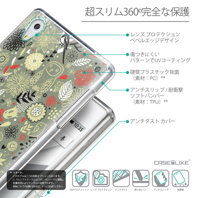 Details in Japanese - CASEiLIKE Sony Xperia Z5 back cover Spring Forest Gray 2243
