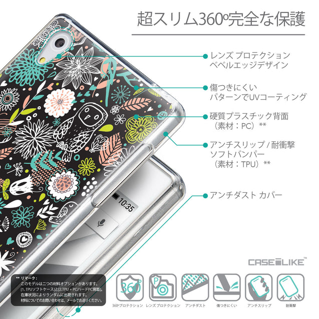 Details in Japanese - CASEiLIKE Sony Xperia Z5 back cover Spring Forest Black 2244