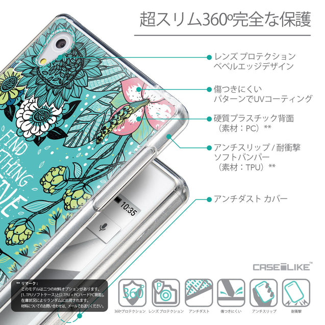 Details in Japanese - CASEiLIKE Sony Xperia Z5 back cover Blooming Flowers Turquoise 2249
