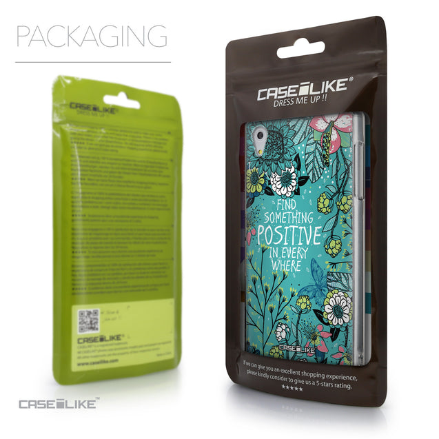Packaging - CASEiLIKE Sony Xperia Z5 back cover Blooming Flowers Turquoise 2249