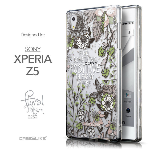 Front & Side View - CASEiLIKE Sony Xperia Z5 back cover Blooming Flowers 2250