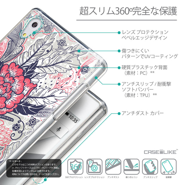 Details in Japanese - CASEiLIKE Sony Xperia Z5 back cover Vintage Roses and Feathers Beige 2251