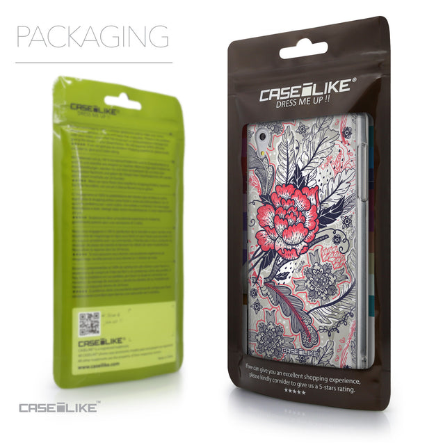 Packaging - CASEiLIKE Sony Xperia Z5 back cover Vintage Roses and Feathers Beige 2251