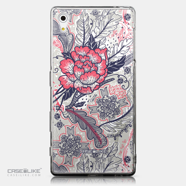 CASEiLIKE Sony Xperia Z5 back cover Vintage Roses and Feathers Beige 2251