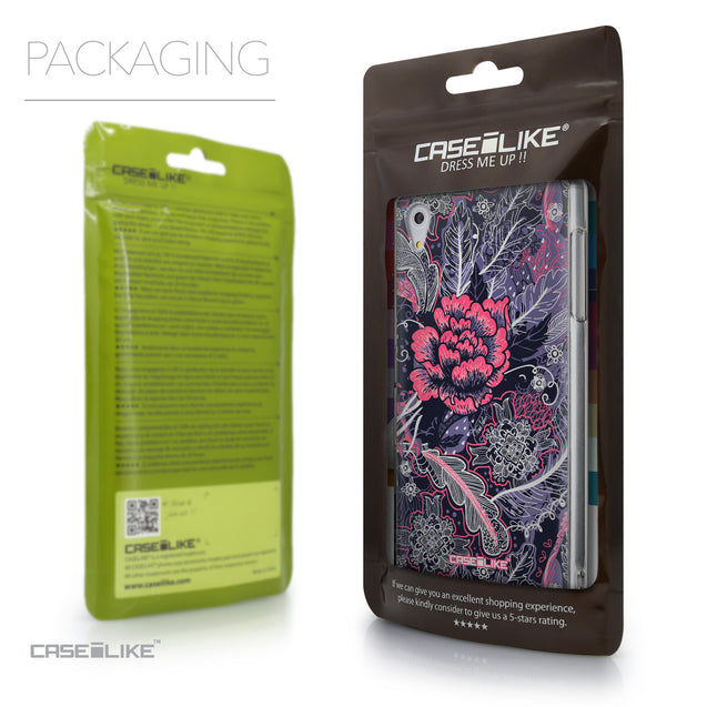 Packaging - CASEiLIKE Sony Xperia Z5 back cover Vintage Roses and Feathers Blue 2252