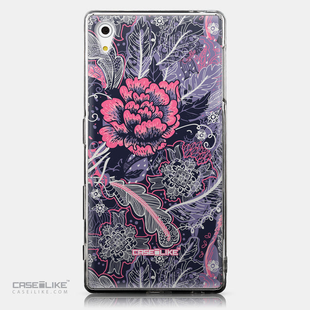 CASEiLIKE Sony Xperia Z5 back cover Vintage Roses and Feathers Blue 2252