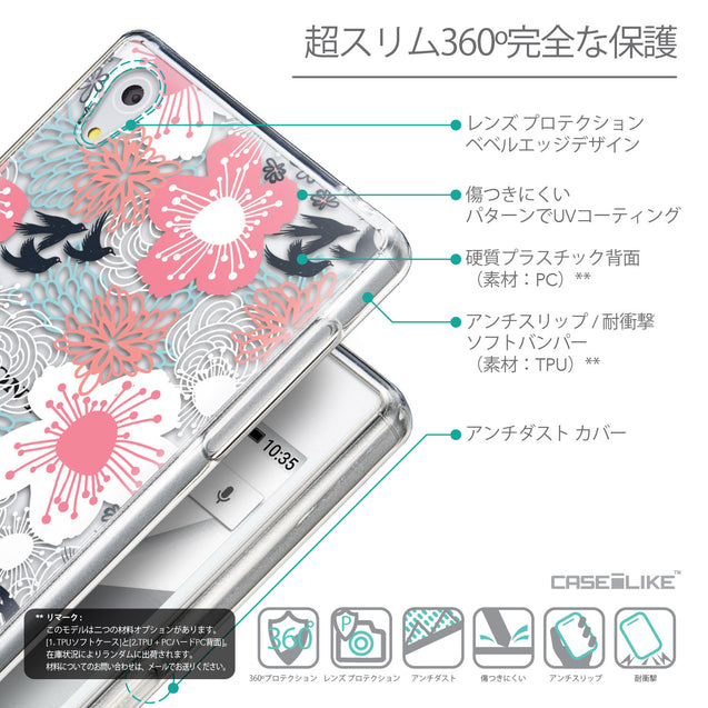Details in Japanese - CASEiLIKE Sony Xperia Z5 back cover Japanese Floral 2255