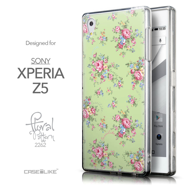 Front & Side View - CASEiLIKE Sony Xperia Z5 back cover Floral Rose Classic 2262