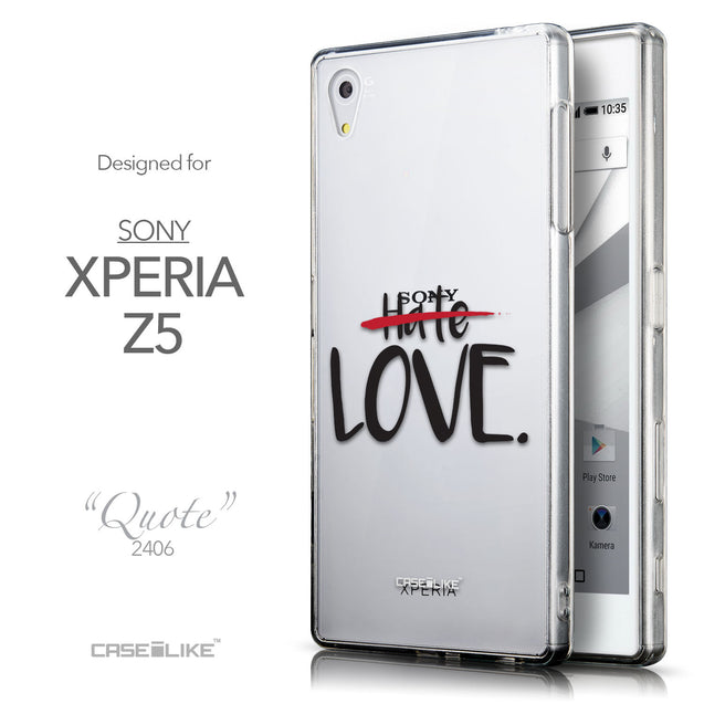 Front & Side View - CASEiLIKE Sony Xperia Z5 back cover Quote 2406