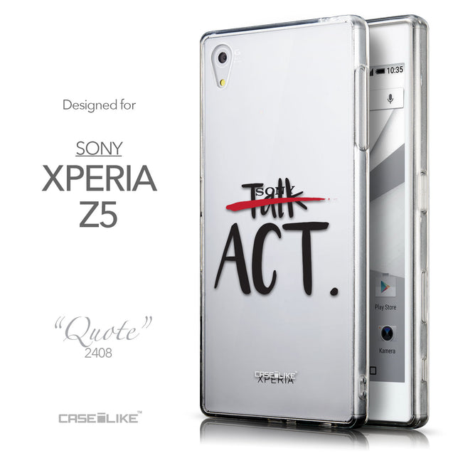 Front & Side View - CASEiLIKE Sony Xperia Z5 back cover Quote 2408