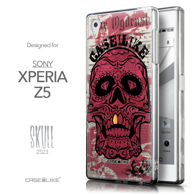 Front & Side View - CASEiLIKE Sony Xperia Z5 back cover Art of Skull 2523