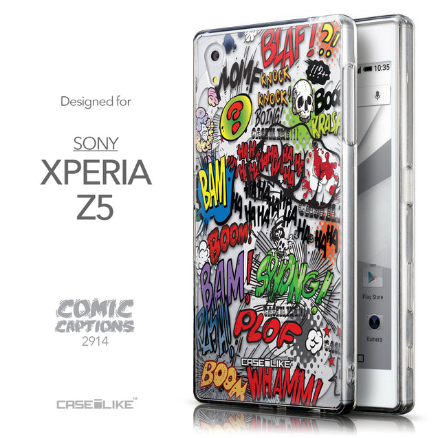 Front & Side View - CASEiLIKE Sony Xperia Z5 back cover Comic Captions 2914