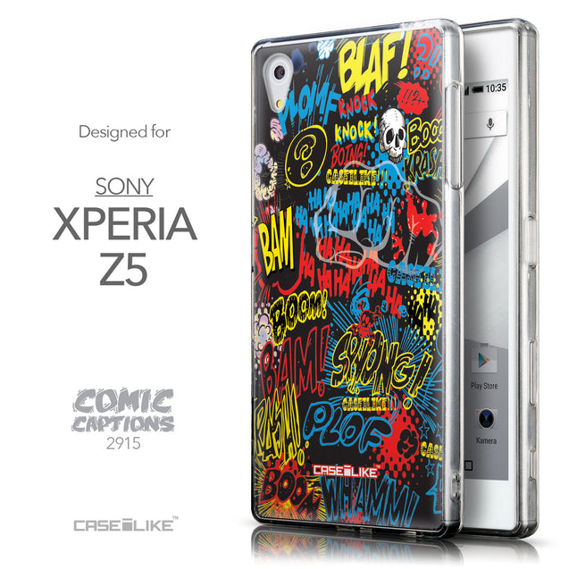 Front & Side View - CASEiLIKE Sony Xperia Z5 back cover Comic Captions Black 2915