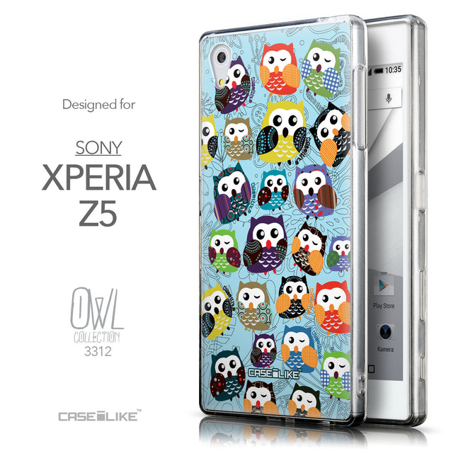 Front & Side View - CASEiLIKE Sony Xperia Z5 back cover Owl Graphic Design 3312