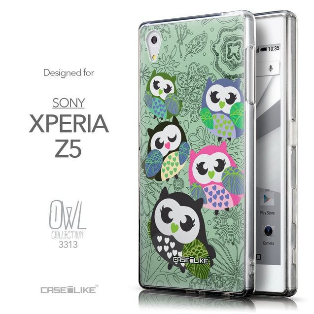Front & Side View - CASEiLIKE Sony Xperia Z5 back cover Owl Graphic Design 3313