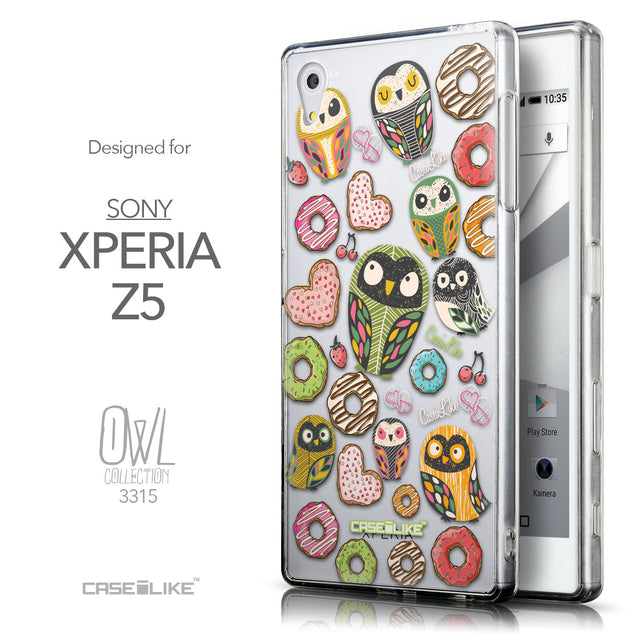 Front & Side View - CASEiLIKE Sony Xperia Z5 back cover Owl Graphic Design 3315