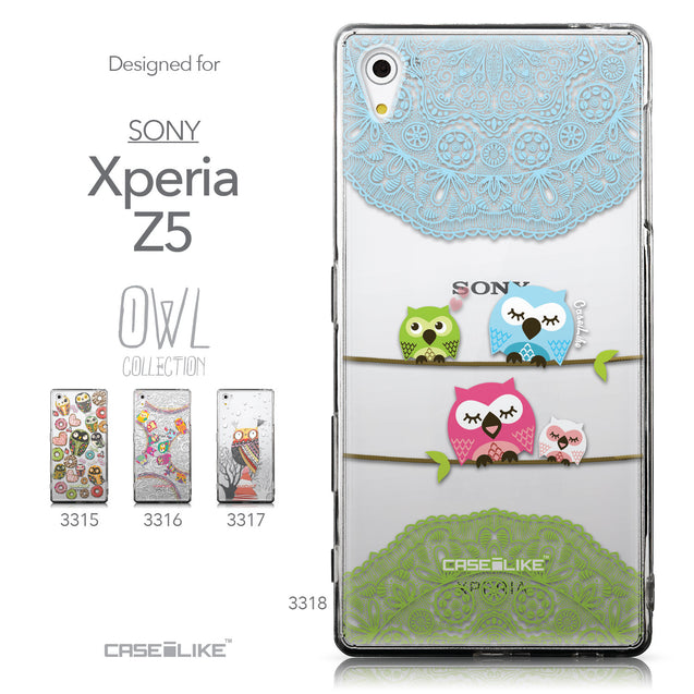 Collection - CASEiLIKE Sony Xperia Z5 back cover Owl Graphic Design 3318