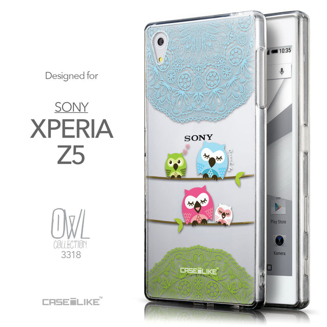 Front & Side View - CASEiLIKE Sony Xperia Z5 back cover Owl Graphic Design 3318
