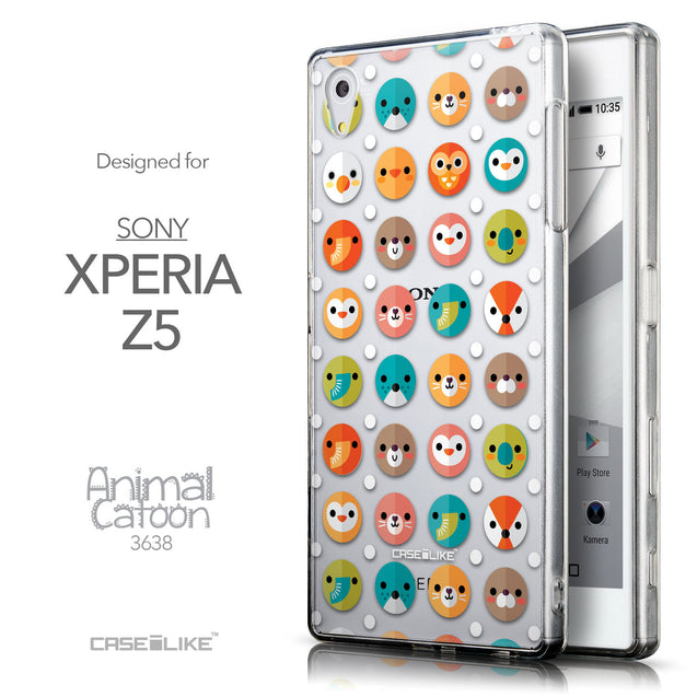 Front & Side View - CASEiLIKE Sony Xperia Z5 back cover Animal Cartoon 3638