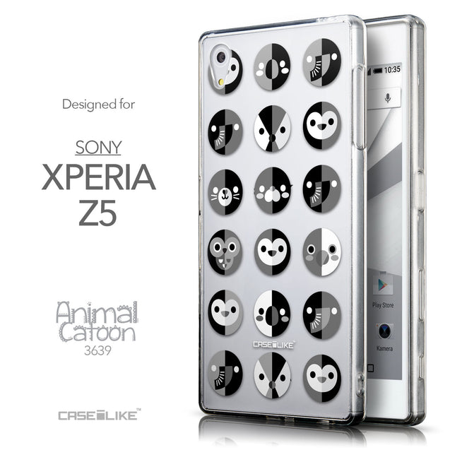 Front & Side View - CASEiLIKE Sony Xperia Z5 back cover Animal Cartoon 3639