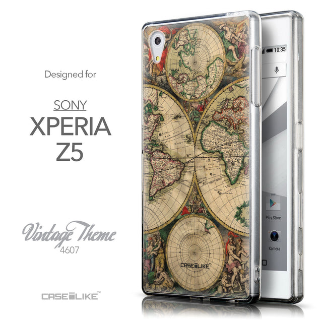 Front & Side View - CASEiLIKE Sony Xperia Z5 back cover World Map Vintage 4607