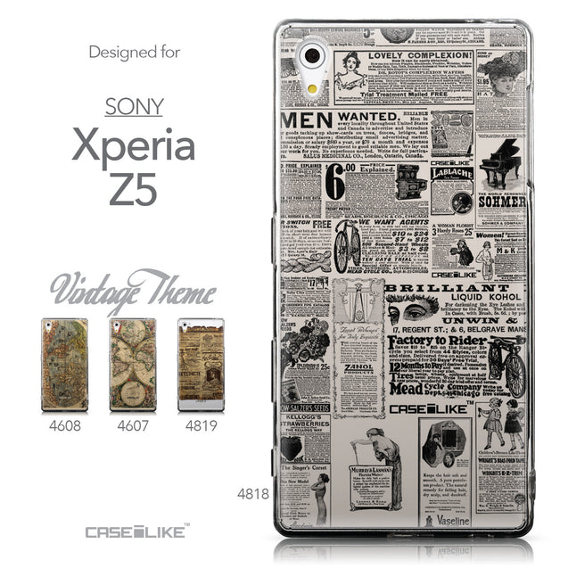 Collection - CASEiLIKE Sony Xperia Z5 back cover Vintage Newspaper Advertising 4818