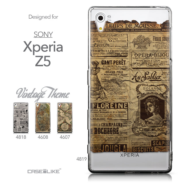 Collection - CASEiLIKE Sony Xperia Z5 back cover Vintage Newspaper Advertising 4819