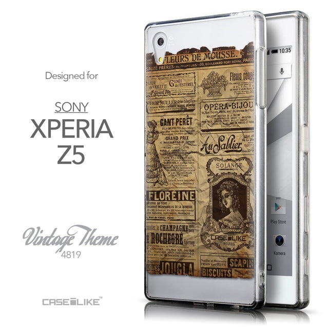 Front & Side View - CASEiLIKE Sony Xperia Z5 back cover Vintage Newspaper Advertising 4819