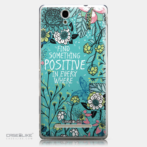 CASEiLIKE Sony Xperia C3 back cover Blooming Flowers Turquoise 2249