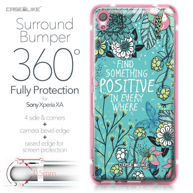 Sony Xperia XA case Blooming Flowers Turquoise 2249 Bumper Case Protection | CASEiLIKE.com