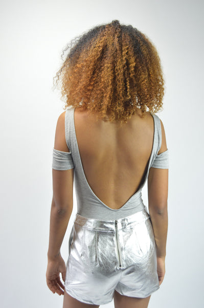 Gray Backless Bodysuit