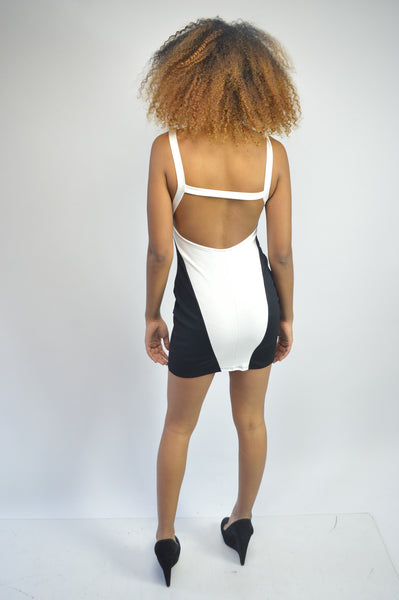 Sexy Ivory/Black Dress With Cut-Out Back