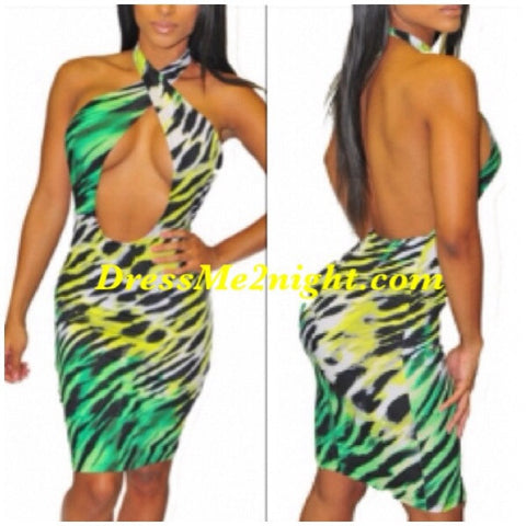 Green Animal Print Halter Dress