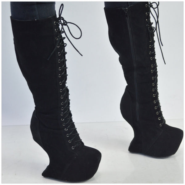 Black Suede Wedge Boots