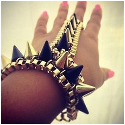 Gold/Black Spike Hand Harness