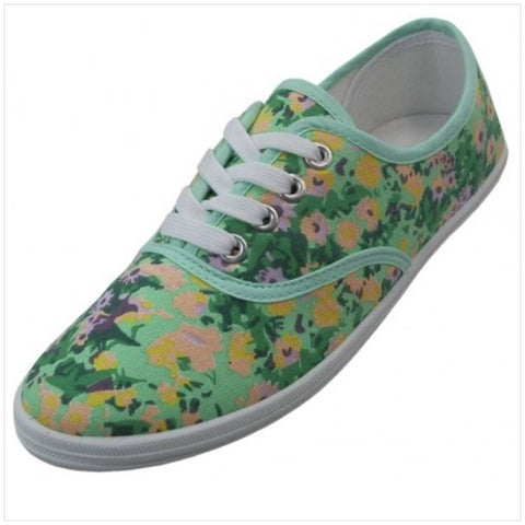 Green Floral Sneakers