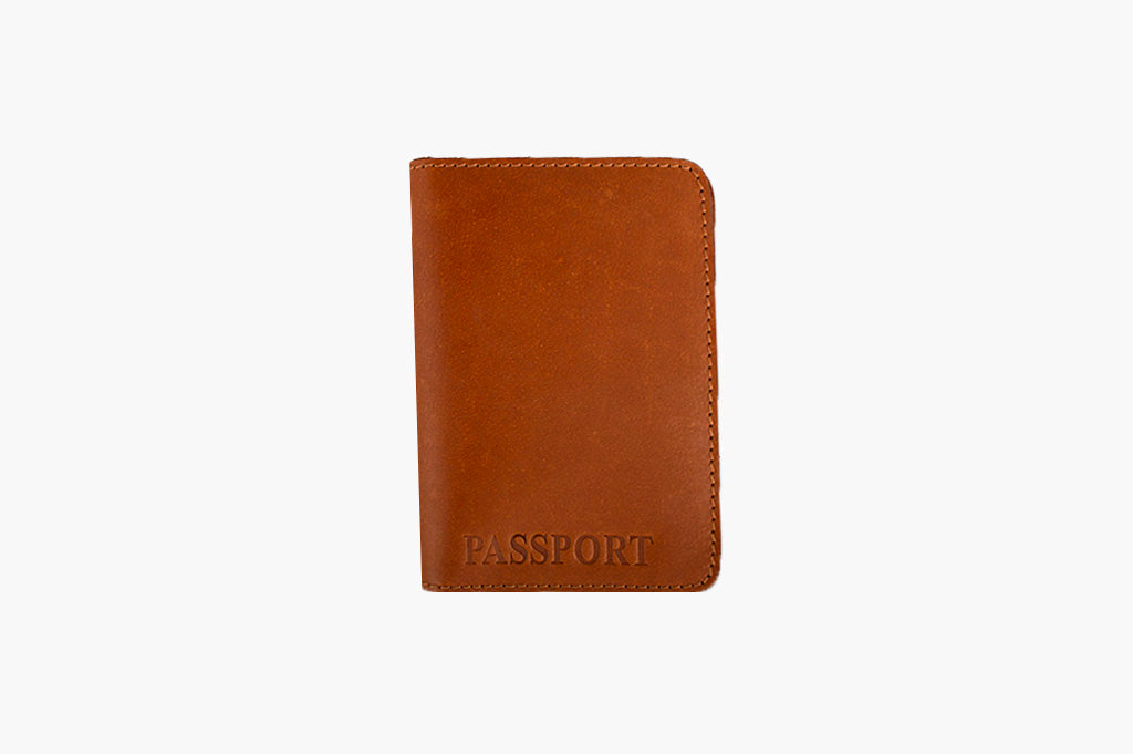 Plain Tan passport cover in real leather