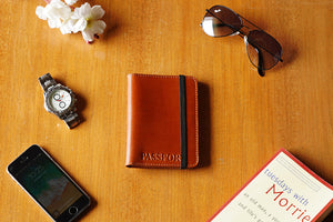 Tan color, leather passport cover