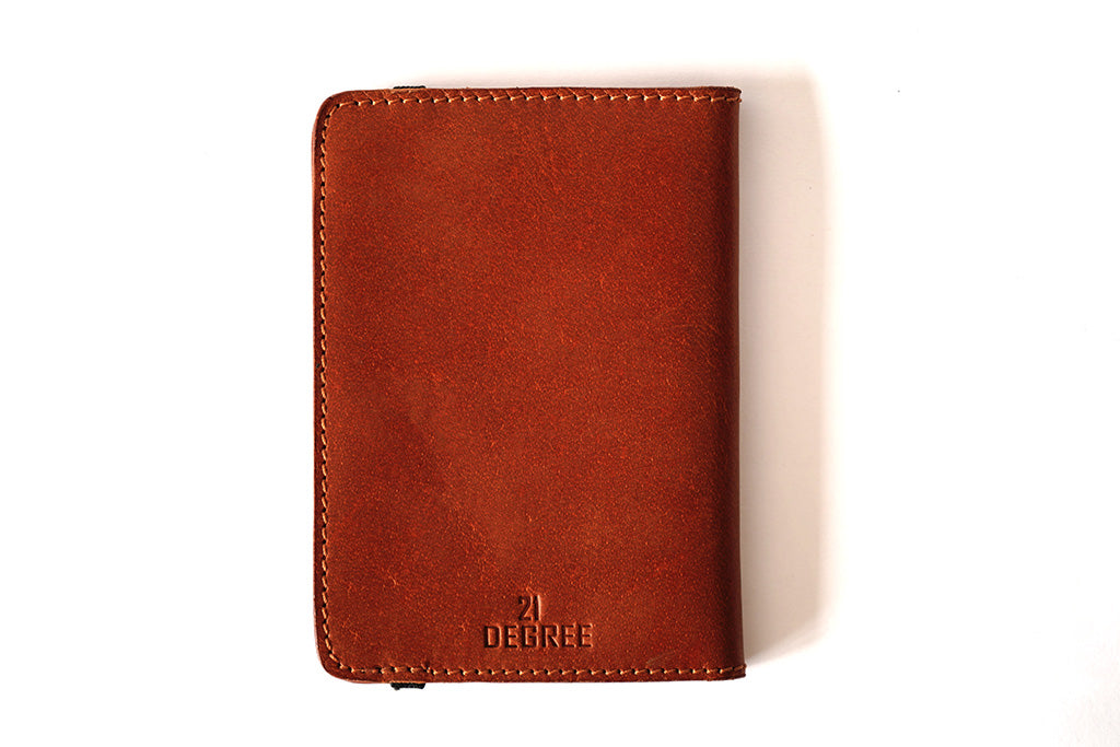 Pure leather branded passport case, back view