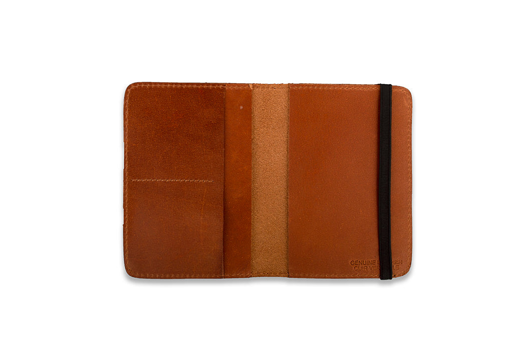 Tan leather passport case by 21 Degree