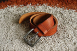 Load image into Gallery viewer, Pure leather men's belt in Tan colour - 21 Degree branded